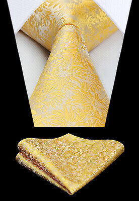 Men's Silk Ties Gray Yellow Paisley Floral Jacquard Necktie Handkerchief Set