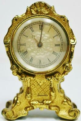 Rare Antique English Small Rococo Single Fusee Verge Watch Carriage Desk Clock