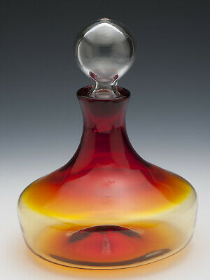 Hand Crafted Amber Mid Century Modern Glass Decanter, similar to Blenko