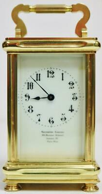 Antique French Carriage Clock 8 Day Timepiece Mantel Clock In Original Case