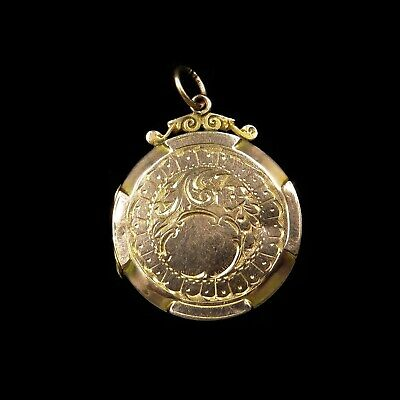 Antique Victorian 9ct Gold Double Sided Engraved Round Photo Locket Pendant 1890
