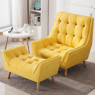 Modern Chair Armchair Chenille Fabric Living Room Fireside Lounge Stool Footrest