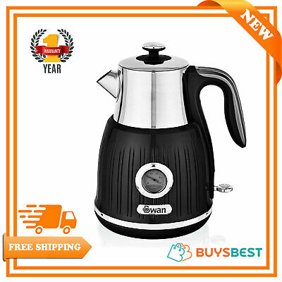 Swan Fast Boil with External Temperature Kettle, 3kW, 1.5 liter, Black SK31040BN