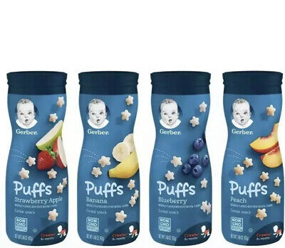 (4 Pack) Gerber Graduates Puffs Cereal Snack, Variety Pack 1.48 Oz Each
