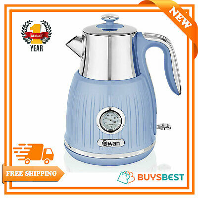 Swan Fast Boil with External Temperature Kettle, 3kW, 1.5Litre, Blue SK31040BLN