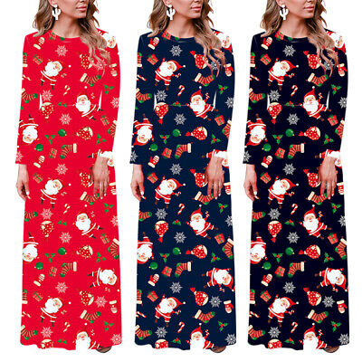Women's Casual Round Neck Long-sleeved Christmas Floral Santa Print Maxi Dress