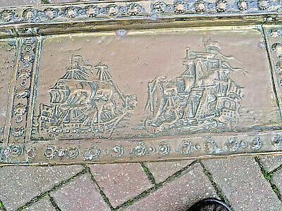 ANTIQUE Arts & Crafts LARGE Copper FIRE Fender CURB NAUTICAL THEME SHIPS / BOATS