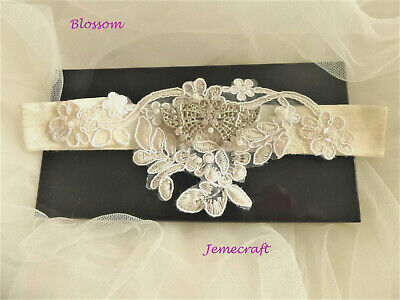 Wedding Bridal Garter 'Blossom' Ivory Cream Lace Pearlcrystal Hand Made Vintage