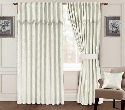 Maya Fully Lined Jacquard Curtain With Attached Pelmets,Tie Backs Included White