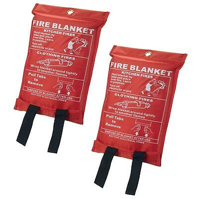 2 x Quick Release Home & Office Safety Large Fire Blanket In Case 1m X 1m RED