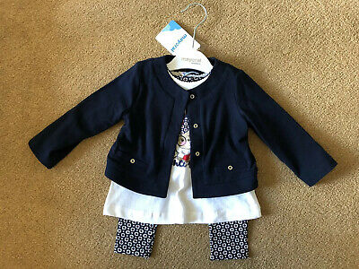 Mayoral Designer Navy Baby Girls Outfit 12 Months Jacket Top And Leggings BNWT