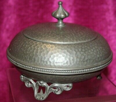 Vintage Art Deco 1920's, Arts & Crafts Hammered CIVIC Pewter Lidded Trinket Dish