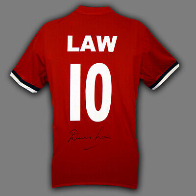 Denis Law Hand Signed Replica Manchester United Football Shirt