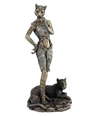 "Ancient Egyptian Goddess Bastet With Panther Family Love Music 11.""  Sculpture"
