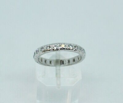 Solid Platinum art deco very good quality diamond set ring