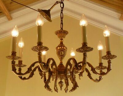 Antique Vintage 1940s Gilt Brass French Rococo Baroque Chandelier Ceiling light