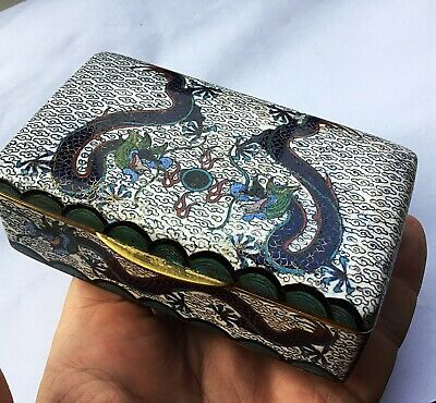 A Rare Victorian Japanese Cloisonné Enamelled Box Dragons