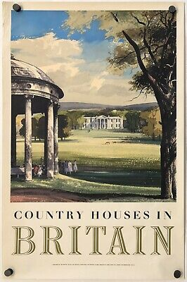 Original Vintage Poster COUNTRY HOUSES BRITAIN British Airline Railroad Travel