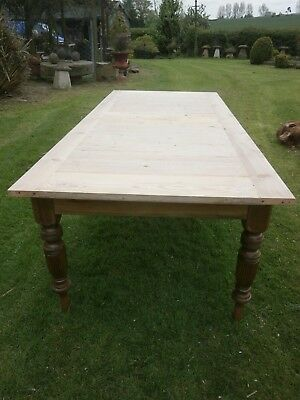 Antique pine table with bread board top and Satin Walnut turned/fluted legs