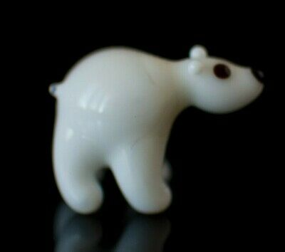 "Tiny Polar Bear  Figurine Blown Glass ""Murano"" Art Animal Sculpture"