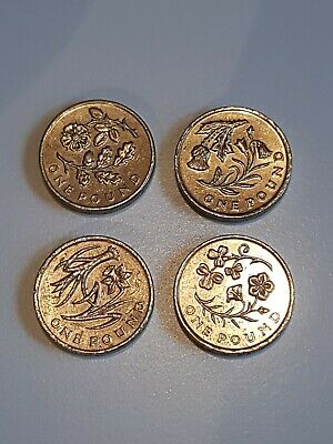 Old 1 Pound Coins Coin Floral Emblems Set £1