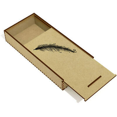 'Long Feather' Wooden Pencil Case / Slide Top Box (PC00001795)