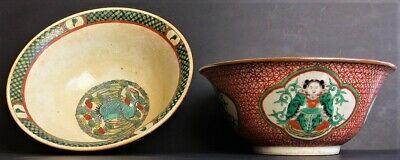 Antique Chinese Porcelain Pair Bowls Red Green Crackle Famille Verte 19thc Qing
