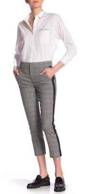 JOIE Black and White Plaid Kenadia Slim Cropped Pants with Side Stripe Sz 4 $278