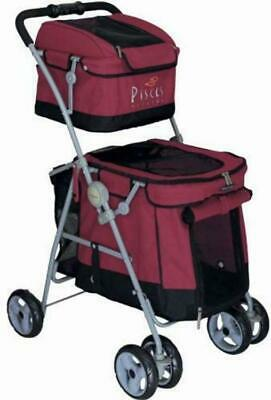 POUSSETTE CHIEN Pet Stroller Dog Duo with 2 ETAGES Buggy Red 101