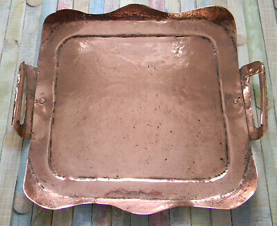 Rustic Arts & Crafts Period Old Copper Two Handled Tray / Platter