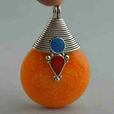 Collectable Handwork Decor old Miao Silver Carve Totem Inlay Amber Lucky Pendant