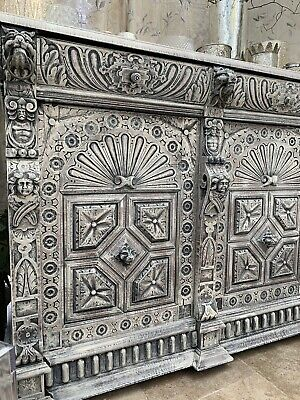 Dutch Continental  Antique Carved Angels Lions Gothic Cabinet Cupboard