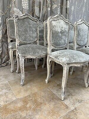 Set Of Eight French Carved Upholstered Dining Chairs