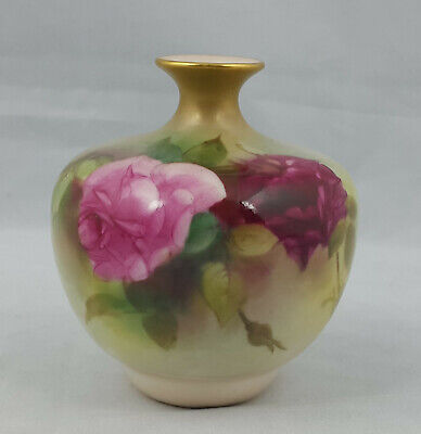 Royal Worcester Hadley Roses - Bulbous Pot with Hand Painted Rose Model No. 2491