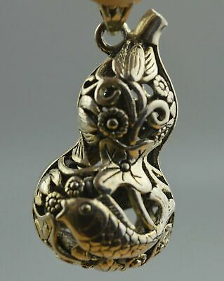 China Collectable Handwork Decor Miao Silver Carve Goldfish Lotus Lucky Pendant