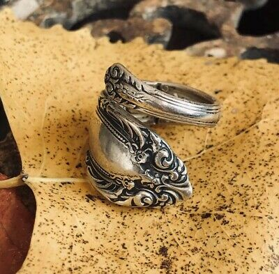 Antique Beautiful 925 Sterling Silver Flower Spoon Ring Towle size 7 10.4g