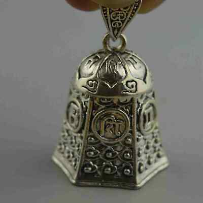 Ancient China Collectable Handwork Miao Silver Carve Flower Bell Tibet Pendants