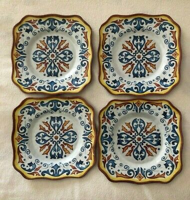 Rustico Melamine Salad/Cake Plates and Bowls - four (4) of each (8 pieces total)