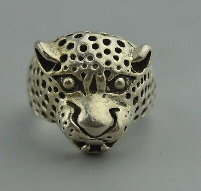 Chinese Collectable Handwork Decor Miao Silver Carve Leopard Head Exorcism Ring