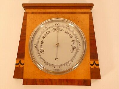 Fine Quality Art Deco Barometer Made From Mixed Woods Including Birds Eye Maple