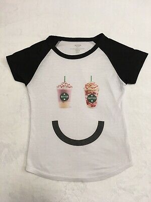 Girls Kids Butter Super Soft White Black Smiley Face T-Shirt Youth Small S USA
