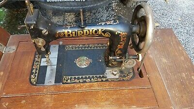 1901 Burdick Sewing Machine in Cabinet w/Drawers, Cast Iron Base, Attachments