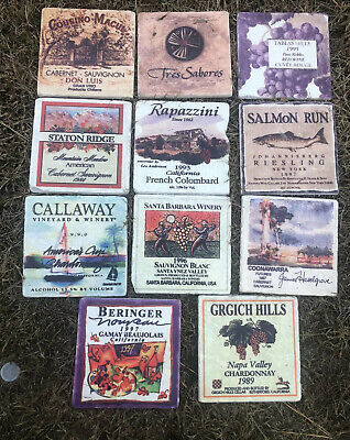 """Vintage Lot Of 11 California Winery/Wine Labels Tiles Stone Coasters 80s/90s 4"""""""