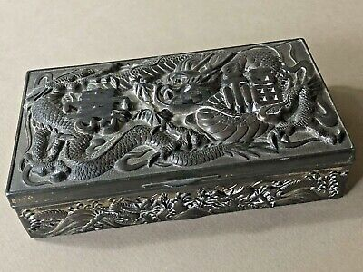 Antique ASIAN ORIENTAL DRAGON Ornate SILVER METAL Trinket JEWELRY BOX Patina
