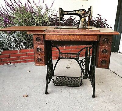 Antique Singer Treadle Sewing Machine - Red Eye—in 7 Drawer Wood And Iron Frame