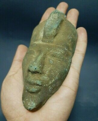 RARE ANCIENT EGYPTIAN ANTIQUES Pharaoh Akhenaten Bronze Mask God Sun 1350-1339BC