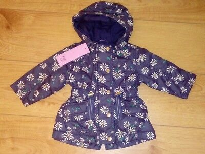 New F&F Baby Girl Navy/Floral-Daisies Hooded Coat/ Jacket Age 3/6 Months RRP £16