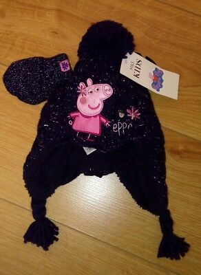 New Baby Girl Marks and Spencer Winter Peppa Pig Navy Hat & Mitten Set 3/6 Mths