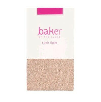 BNIP Baker By Ted Baker Kids Girls' Nude Pink Glitter Tights 9-10yrs