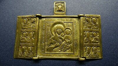 Russian orthodox bronze icon Mother of God  Our Lady 19th century GOLD PATINA